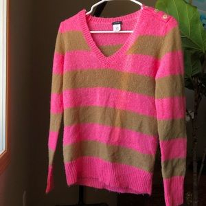 Women's J. Crew Small V-Neck Striped Sweater Wool